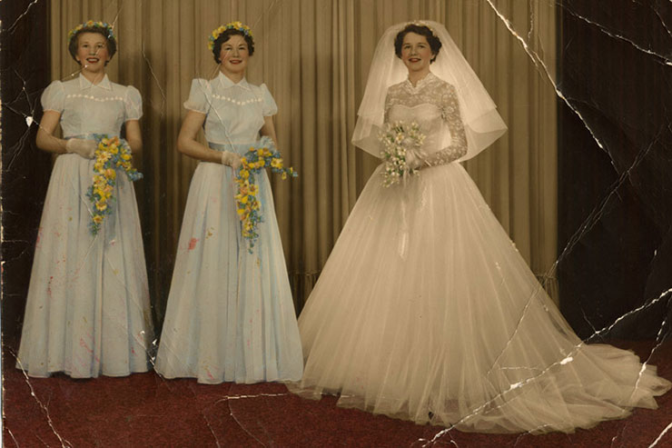 digital photo restoration wedding photo with creases before