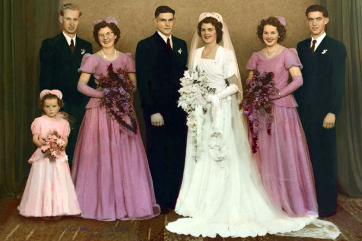 digital photo restoration wedding after