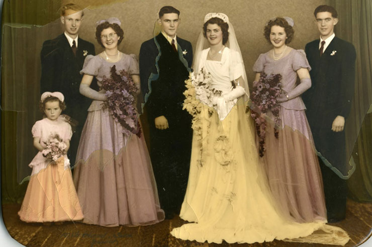 digital photo restoration wedding before