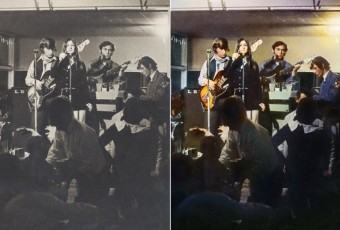 Colouring of black and white photo of band gig